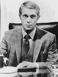 Steve McQueen wearing Formal Suit in Black and White Photo by  Movie Star News