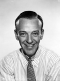 Fred Astaire Posed in Striped Shirt Black and White Photo by Robert Coburn