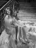 Rita Hayworth posed with Gown in Black and White Photo by Robert Coburn