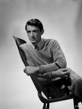 Gregory Peck Leaning on Chair wearing Long Sleeves Photo af E Bachrach