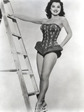Debra Paget standing Beside a Ladder in Black and White Photo af  Movie Star News