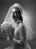 Portrait of Arlene Dahl posed in Wedding Gown Photo by  Movie Star News