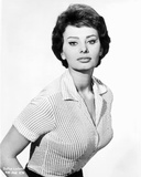 Sophia Loren wearing a Stripe Blouse in a Classic Portrait Photo autor Movie Star News