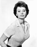 Sophia Loren wearing a Stripe Blouse in a Classic Portrait Photo by  Movie Star News