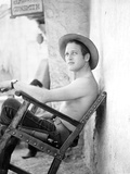 Paul Newman Siting on Chair With Hat Black and White Photo by  Movie Star News