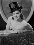 Maureen O'Hara smiling in Black Clover Magician Hat Photo by E Bachrach