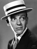 Fred Astaire Posed with White Hat in Black and White Photo by E Bachrach