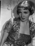 Claudette Colbert Posed in Glossy Dress with Dark lipstick Photo by  Walling