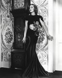 Loretta Young Black Satin Mermaid Dress with Flower Design Photo by  Movie Star News