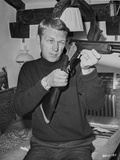 Steve McQueen Pointing Rifle in Black and White Portrait Photo by Lothar Winkler