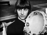 Beatles Ringo Starr Holding a Tambourine in Black Suit Photo af  Movie Star News