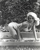 Stella Stevens Bent Over wearing Bikini in Black and White Photo by  Movie Star News