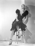 Gloria Grahame Posed Siting on Chair in Black Gown Photo by  Movie Star News