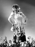 Anne Baxter on a Printed Dress with Hands on Waist Photo by  Movie Star News