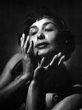 Lena Horne in Close Up Portrait in Black and White Photo by  Movie Star News