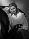Ingrid Bergman Leaning on Couch in White Dress Photo by E Bachrach