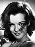 Romy Schneider smiling in Black and White Portrait Photo by  Movie Star News