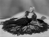 Ginger Rogers Posed wearing Black Feather Gown Photo by E Bachrach