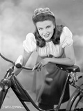 Ginger Rogers Posed on Bicycle Black and White Photo by Hal McAlpin