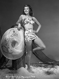 Rita Hayworth Leaning wearing a Swimming Suit Photo by AL Schafer