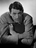 Gregory Peck Leaning on Chair in Formal Outfit Photo af E Bachrach