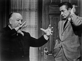 Hitchcock Alfred with a Man Talking and Smoking Photo by  Movie Star News