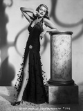 Rita Hayworth Leaning in Black High Slit Dress Photo by A.L. Schafer