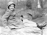 Lauren Bacall sitting on Big Rock in Black and White Photo by  Movie Star News