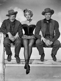 Marlene Dietrich sitting Black Dress with Two Men Photo by  Movie Star News