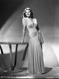 Rita Hayworth Pose in Long Gown in Black and White Photo by Robert Coburn