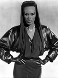 Grace Jones wearing Black Gown with Black Gloves Photo by  Movie Star News