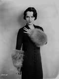 Louise Brooks Posed in Black Dress with Fur Gloves Photo by  Movie Star News