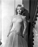 Carole Landis on Embroidered Dress and Leaning Photo by  Movie Star News