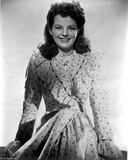 Marjorie Lord on a Printed Dress sitting and smiling Photo by  Movie Star News