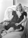 Gloria Grahame Posed on Couch wearing a Black Dress Photo by  Movie Star News