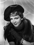 Claudette Colbert Posed in Black Fur Dress with Hat Photo by  Movie Star News