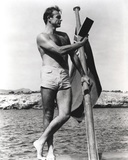 Sean Connery Posed on Raft in Black and White Photo by  Movie Star News