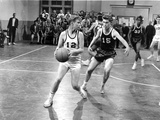 Blue Denim Basket Ball Scene in Black and White Photo by  Movie Star News