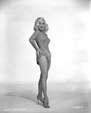 Mamie Van Doren smiling in Black and White Photo by  Movie Star News