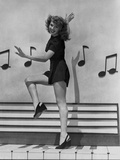 Rita Hayworth With Musical Notes Background Photo by Ned Scott