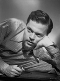 Orson Welles Leaning Head on Hand in Classic Photo by E Bachrach