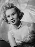 Virginia Mayo Posed in Dress and Pearl Necklace Photo by  Movie Star News