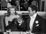 Rita Hayworth Portrait with A Man Drinking Wine Photo by Ned Scott