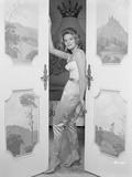 Angie Dickinson Leaning on Door Black and White Photo by  Movie Star News