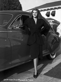 Rita Hayworth Leaning on Car in Black Dress Photo by  Movie Star News