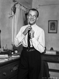 Fred Astaire Fixing Neck Tie in Black and White Photo by  Hendrickson