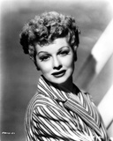 Lucille Ball Posed in Stripe Suit with a Smile Photo by  Movie Star News