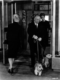 Hitchcock Alfred with Dog in Black and White Photo by  Movie Star News
