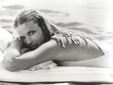 Bo Derek at Beach in Bikini Black and White Photo by  Movie Star News
