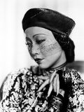 Anna Wong wearing a Floral Dress and a Beret Photo by  Movie Star News